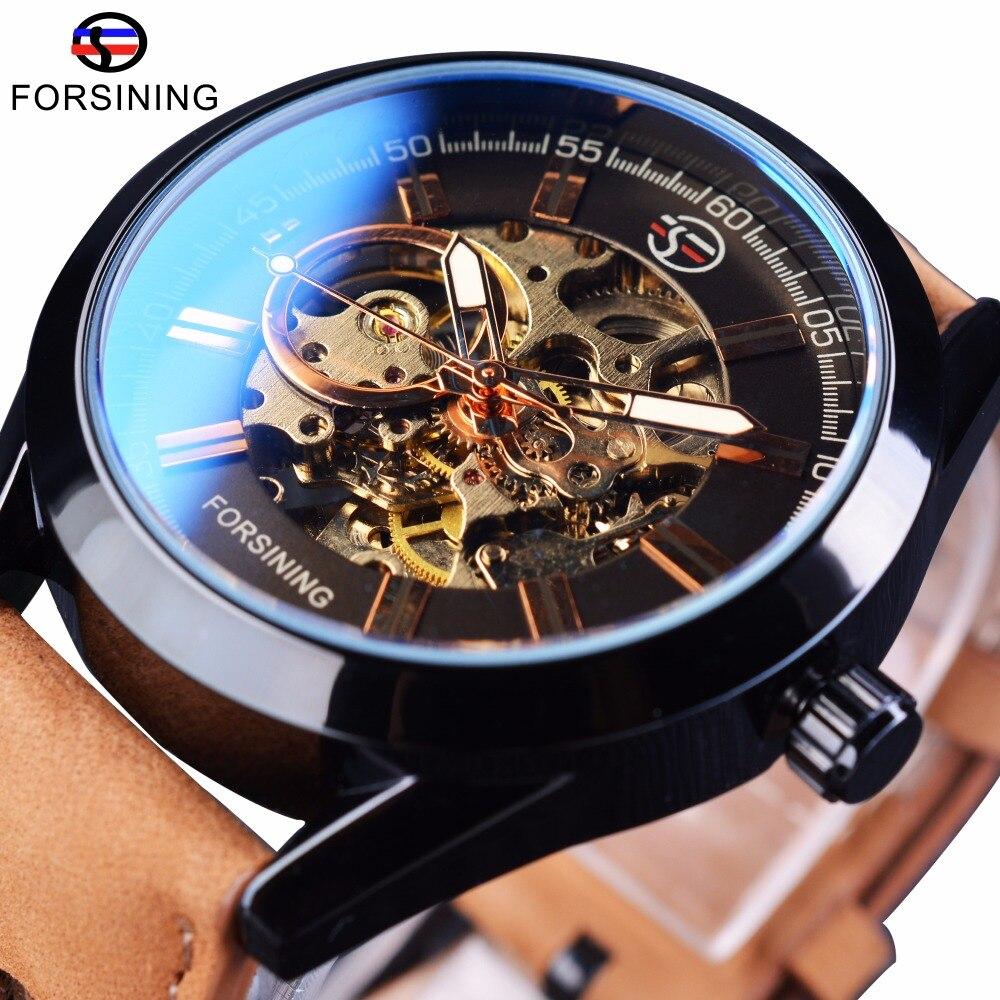 Forsining 2017 Mens Casual Sport Uhr Echtem Leder Top Marke Luxus Armee Militärische Automatische herren Armbanduhr Skeleton Uhr