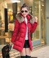 Nova Marca Gola De Pele Espessamento Inverno Neve Quente 2015 Tamanho Grande das Mulheres Jaqueta Com Capuz Para Baixo Fino Mulheres Parka Longo casaco