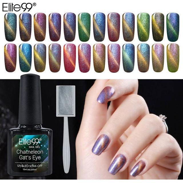 Elite99 Chameleon Cat Eye Gel Lacke Alle 24 Farbe Gel Polituren Mit 1 Magnet Tränken Weg Von UV Magnetische Glitter Gel nagellack