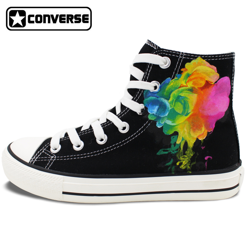 Original Design Hand Painted font b Shoes b font Colorful Smoke High Top Converse All Star