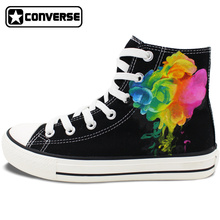 Original Design Hand Painted Shoes Colorful Smoke High Top Converse All Star Canvas Sneakers Men Women Unique Birthday Gifts