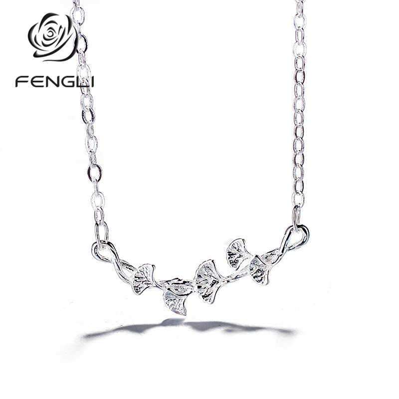 FENGLI 925 Silber Blatt Form Halskette für Frauen Elegante Dame Geburtstag Beste Geschenk Schmuck
