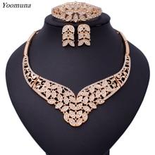 2019 New Nigeria Luxury Popular Wedding Flower Jewelry Set Dubai Golden Bead Necklace Sets for women