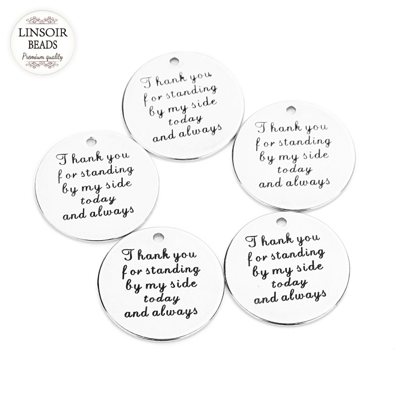 Linsoir 5pcs/lot letters Stainless Steel Pendent Charm