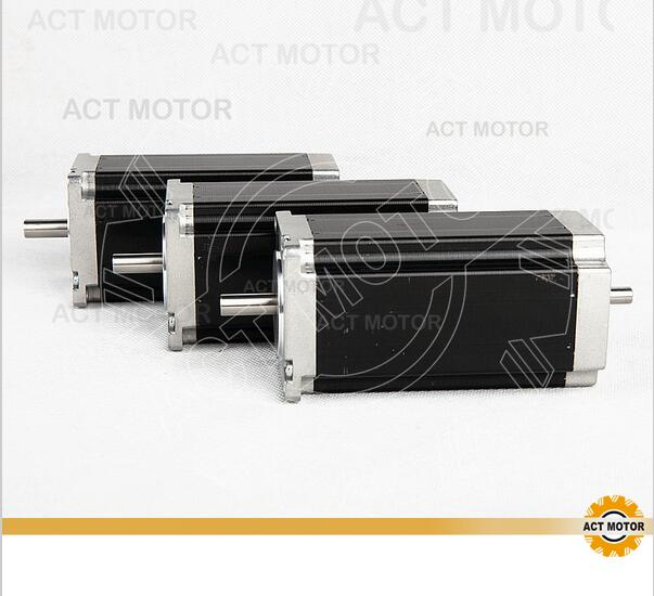 ACT Motor 3PCS Nema23 Stepper Motor 23HS2442B Dual Shaft 4-Lead 425oz-in 112mm 4.2A Bipolar CE ISO ROHS Engraving Machine