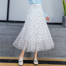 All-match Polka Dot Skirt Summer Spring Fashion White High Waist Black Mesh Women Harajuku Kawaii Pink Sweet Ladies Skirts