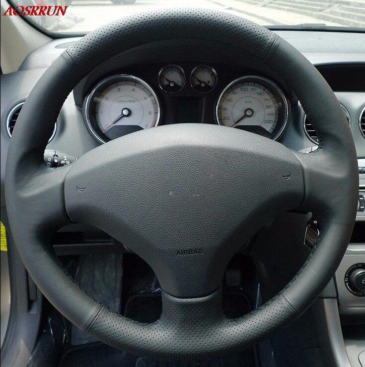 Coser en de la cubierta del volante del coche del cuero de accesorios de coche para peugeot 206 - Accesorios coche interior ...