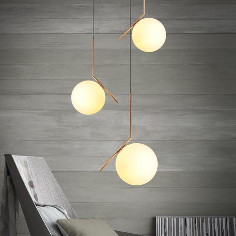 Simple design d20 30cm glass ball gold bar pendant lamp for Simple suspension hanging