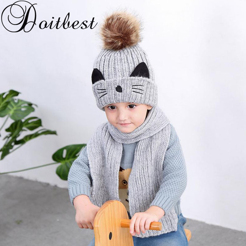 Cartoon Cat Hairball Beanies Sets Velvet Wool Kids Child Knitted Fur Hats Winter Fur Inside 2 Pcs Baby Girl Scarf Hat Set
