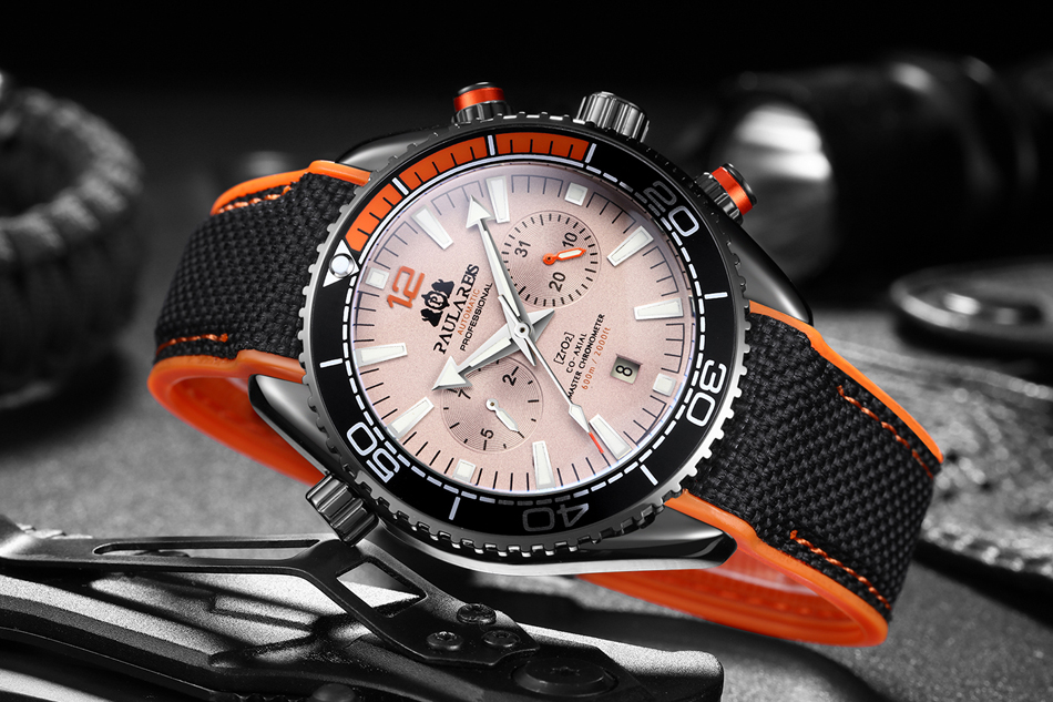 Automatic Self Wind Mechanical Canvas Rubber Strap James Bond 007 Style Orange Blue Red Multifunction Date Month Men Sport Watch