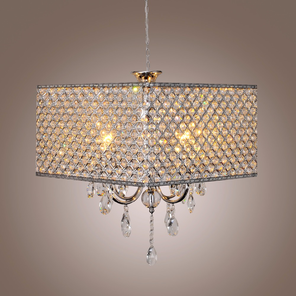 New Galaxy Lighting 4-Light Chrome Round Metal Shade Crystal Chandelier Pendant Hanging LED Ceiling Fixture chrome round crystal chandelier