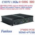 IPC Industrial BOX 4G RAM 500G HDD mini pc fanless INTEL Celeron C1037u 1.8 GHz VGA HDMI RJ45 usb 6*COM windows Linux
