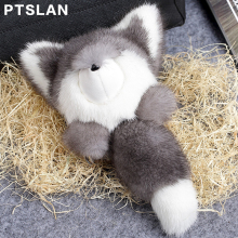 Ptslan New genuine mink Furs fox Plush Toys  Car  Key Ring  Keychain Bag Charm Tag Cute Mini fox Toy Doll Real Fur Monster