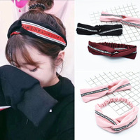 Pink Letter Headbands Girls Yoga Cross Knot Women Sport Hair Bands Cloth Harajuku Head Wrap Suede Fabric Red Hair Accessories