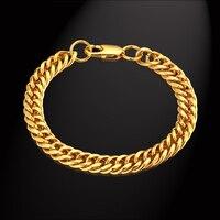Gold Color Stainless Steel Chain Link Bracelet 8MM Rock Mens Gold Bracelet Jewelry Male Chain Bracelets