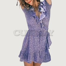 Cuerly fashion women purple summer ruffled dress 2019 beach wrap print dress female mini vestidos female L5