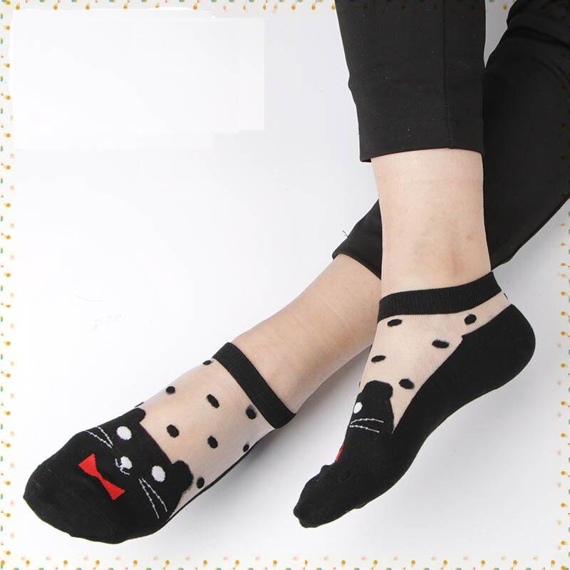 1Pair Women Ankle Sock animal Soft Comfy Sheer Silk Cotton Elastic Mesh Knit Frill Trim Transparent Women 39 s socks drop ship in Socks from Underwear amp Sleepwears