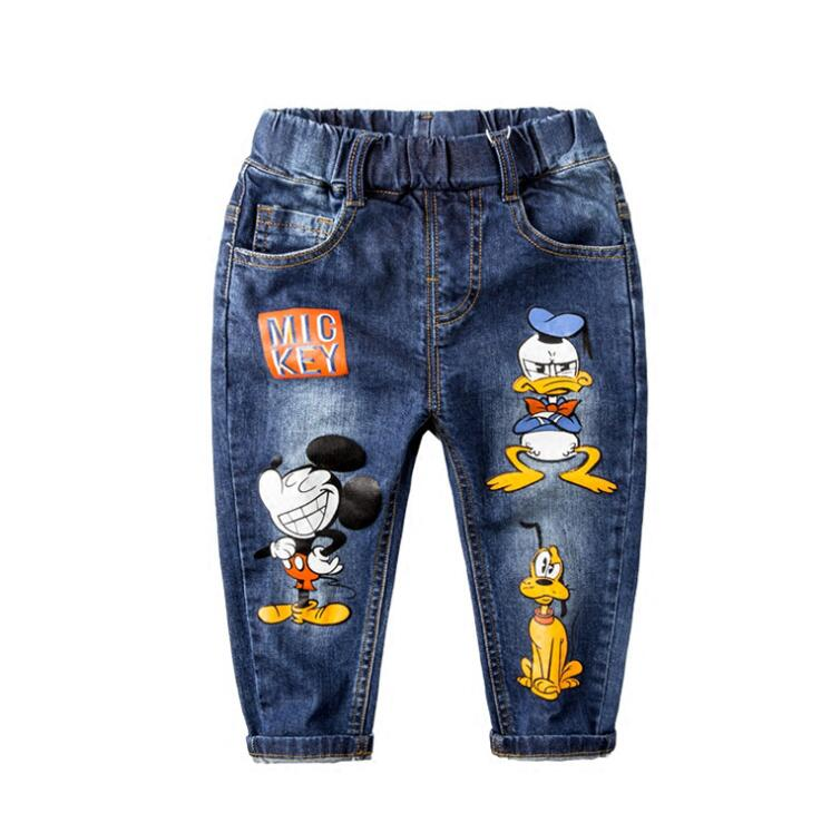 Boys Jeans Cartoon Mickey Daisy Baby Kids Trousers Girls Jeans Pants Elastic Blue Jean Spring Outwear Basic Pants For Children
