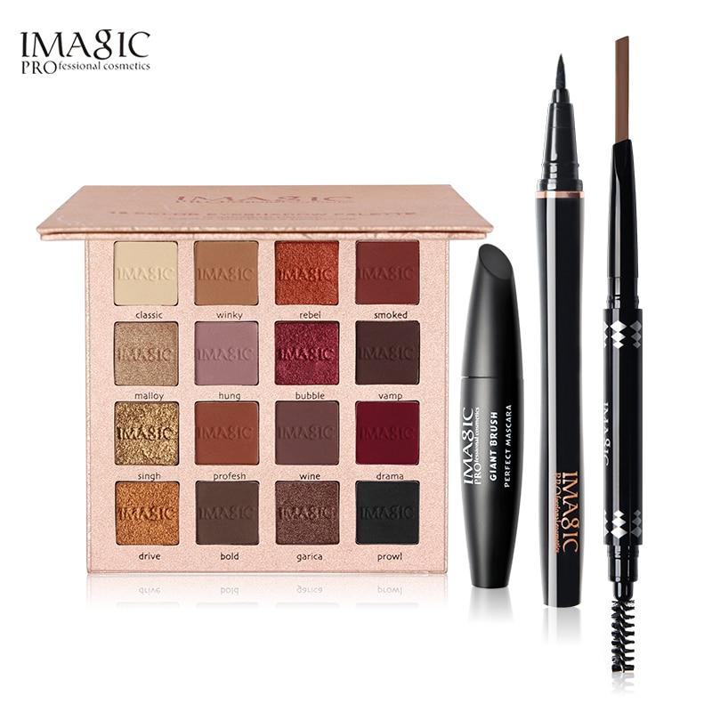 IMAGIC 4 Pcs 16 Colors Charming Eyeshadow Eyeliner Pen Black Volume Mascara Eyebrow Pencil