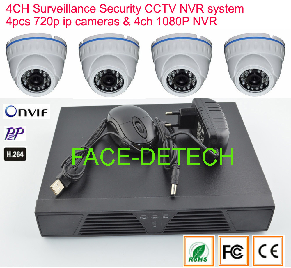 DHL Free shipping Onvif CCTV IP Camera 4CH NVR Kit Home Network Security Plastic IP Camera System 720P 8ch nvr kit 720p 3 6mm waterproof outdoor onvif ir ip camera 1 0mp and 8ch 1080p 720p nvr for cctv security system free shipping