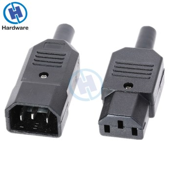 IEC Socket Straight Cable Plug Connector C13 C14 10A 250V Black Female&male Plug Rewirable Power 3 Pin Connector iec 320 c14 male to c13 female cord c13 to c14 dual down angle right angle power cable about 1 5m 1pcs