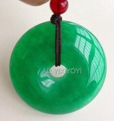 Büyüleyici Doğal Yeşil Yeşim 30mm Çin Yuvarlak Toka Harmony Muska Şanslı Yeşim Kolye + Ücretsiz Ip Kolye Güzel Takı