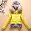 2016 new women fashion cotton wool stitching casual short female down cotton jacket coat fur collar slim winter jacket women
