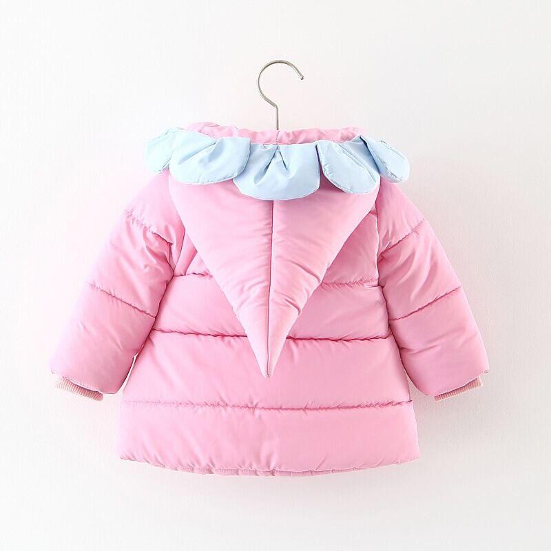 Newborn Baby Girls Winter Coat Flower Design Cotton Jackets Toddlers Children Outerwear Coat Baby Snow Wear Warm Coat Parkas