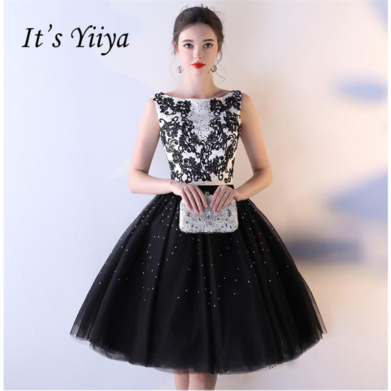It's YiiYa Sex Black Sleeveless Flowers Backless Lace Up Dinner Dress Cocktail Dresses Knee Length Formal Dress Party Gown LX050