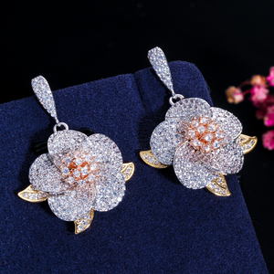 Image 2 - CWWZircons 3 Tone Rose Gold Full Micro Pave Cubic Zirconia Ladies Flower Pendant Necklace and Earrings Jewelry Sets T063