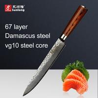 Najnowszy 8 cal ryby filet Filet Nóż Damaszku stali Japoński sashimi nożem wzór kolor drewna uchwyt ryby nóż ostrze ze stali