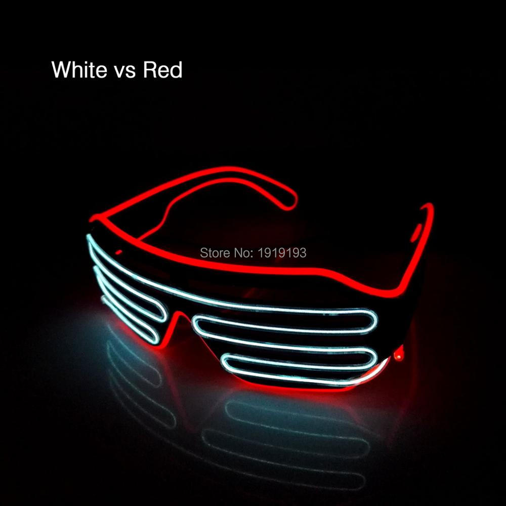 New 2017 Hot Sale Double Color Glow LED EL wire Glasses Shutter Light Up Flashing Rave Festival holiday lighting Bright Glasses