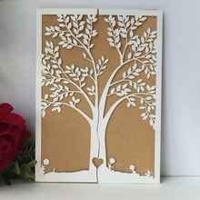 45pcs New Arrival Personalized Laser Cut Tree Wedding Invitations Birthday Gift Card Banquet Party Supplies