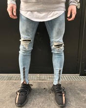 Ripped Zipper Jeans For Men Size 42 Mens With Knees Plus Harem Ankle Italy High Elasticity Pants Winter Warmed Elastane 1840