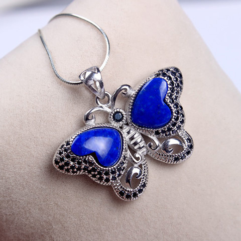 925 silver inlaid lapis lazuli female fashion crystal jewelry pendant pendant necklace wholesale автокресло babyhit бежевый sider lb510