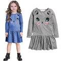 Новый перечисленные детские девушка одежда весна осень повседневные платья дети девочка платье детская одежда высокого качества хлопка платье принцессы