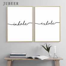 Inhale Exhale Posters and Prints Black White Letter Paintings on the Wall for Living Room Decoration Pictures Home Decor