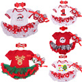 2017New Baby Girls Christmas Clothes Santa Clause/Elk Romper Dress+Headband+Shoes Bebe Infant Xmas Clothing Sets Outfit