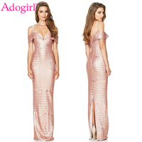 Adogirl 2018 New Champagne Sequins Evening Party Dresses Sexy V Neck Off Shoulder Spaghetti Straps Back