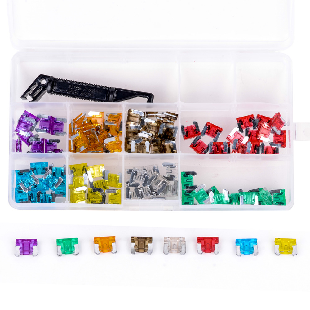 New 100pcs Micro Auto Car Mini Blade Fuses Assortment Kit with Black Puller 3A 5A 7.5A 10A 15A 20A 25A 30A For Car Auto Truck