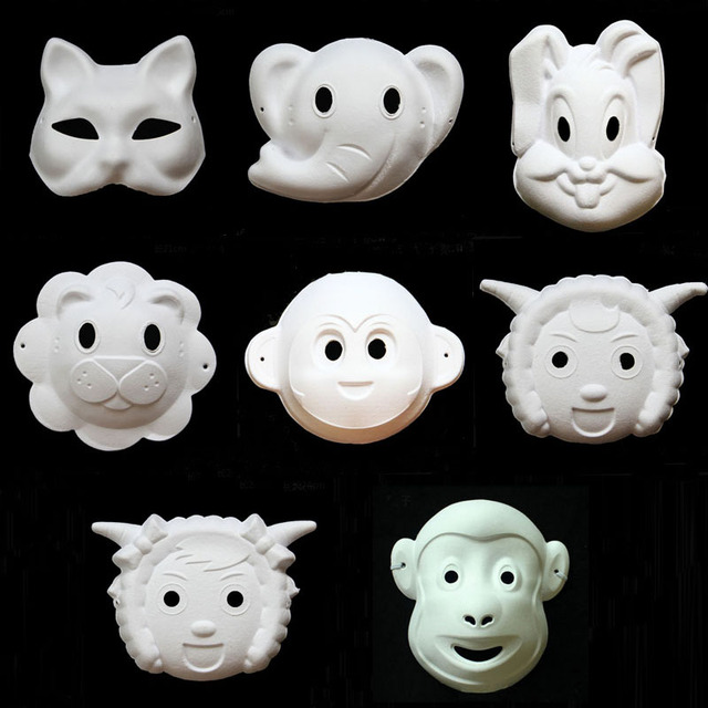 US $49 9 | DIY White Paper Unpainted Fox Bunny Elephant Animal Mask for Men  Women Kids Carnival Face Masks Christmas Halloween-in Party Masks from