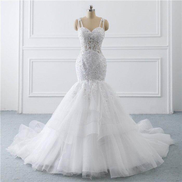 Spaghetti Straps Applique Lace Mermiad Wedding Dress Vestido De Festa Longo De Luxo Bridal Gowns New Fashinon 2020 New