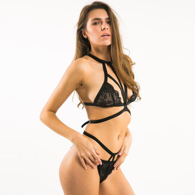 Missomo 2017 New Fashion Women Black Sexy Choker Bra Lace Underwear Straps Bralette Panties Soft Trim Bra Sets