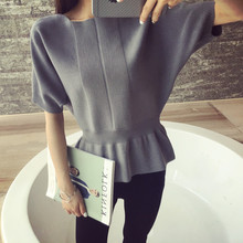 Female head short sleeve sweater sweater collar bat sleeve loose solid short sleeved blouses spring
