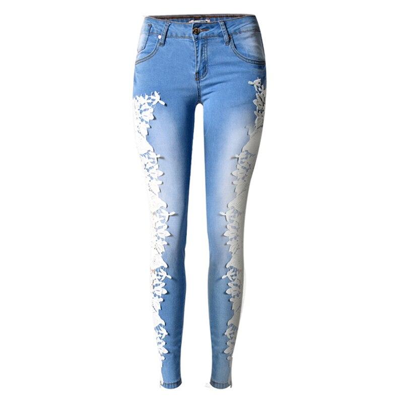 2016 Teenager Summer Style Pencil Lace Jeans Body Slim Fashion American Style Flower Boyfriend Jeans Women Wholesale S1552