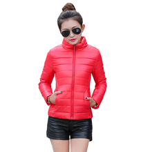 Nice Women Winter Ultra Light Coat Female Spring Cotton Padded Thin Jacket Zipper Outerwear Short Parka Jaqueta Feminina