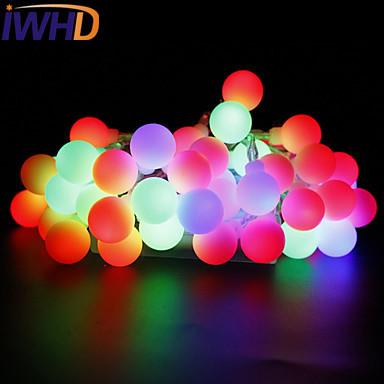 IWHD Christmas LED String Lights 10 m <font><b>100</b></font> Leds Colored Lights Flashing Multi Color Power Supply Outdoor Ball Bubble Lamp String image