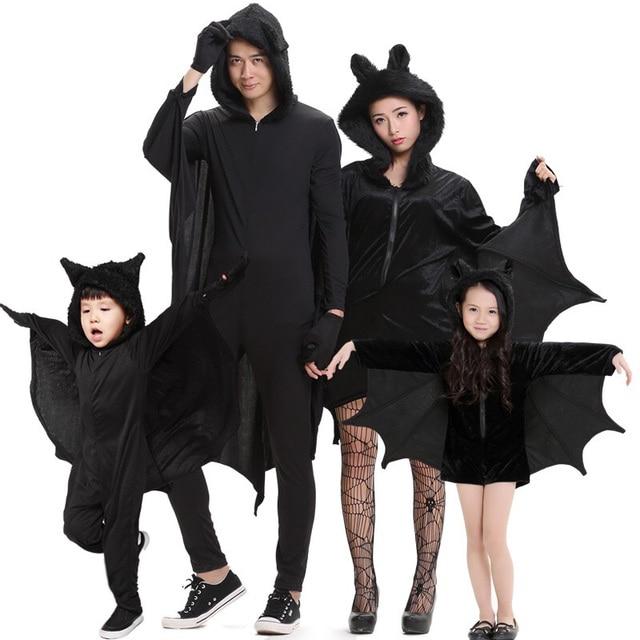 Adultos Ninos Halloween Familia Bat Disfraz Parejas Grupo Negro - Idea-disfraz