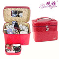 Guanya leather Jewelry box Zipper around Multi-function Travel Jewellery box case organizer Cosmetic bag with Mirror inside