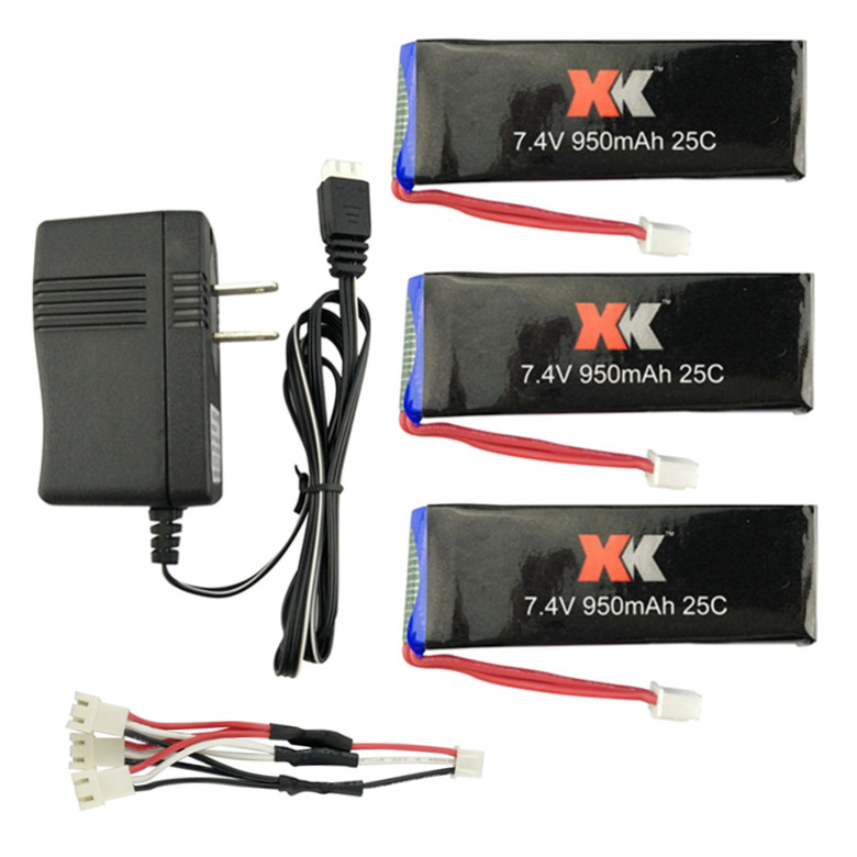 XK X251 RC Quadcopter Spare Parts 3Pcs 7.4V 950mAh 25C Battery+1Pcs Charging Cable+1Pcs 7.4V Charger new arrival for dji phantom 4 rc quadcopter spare parts 3 in 1 battery charger plates input 17 5v 7a